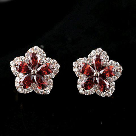 Pair of Stylish Chic Crystal Flower Shape Earrings For Women