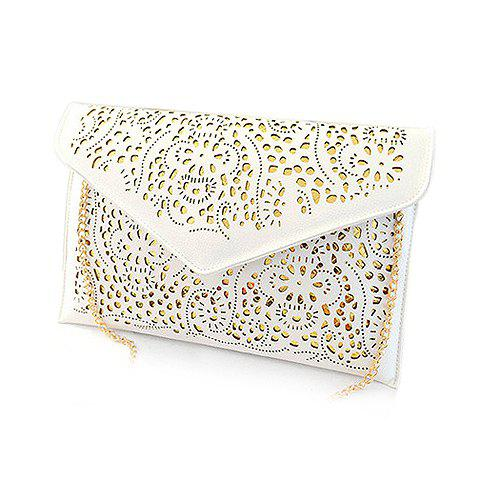 Stylish Hollow Out and Envolope Design Clutch For Women - WHITE