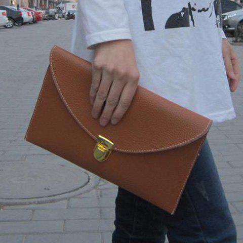 Stylish Envolope and Push-Lock Design Clutch For Women - BROWN