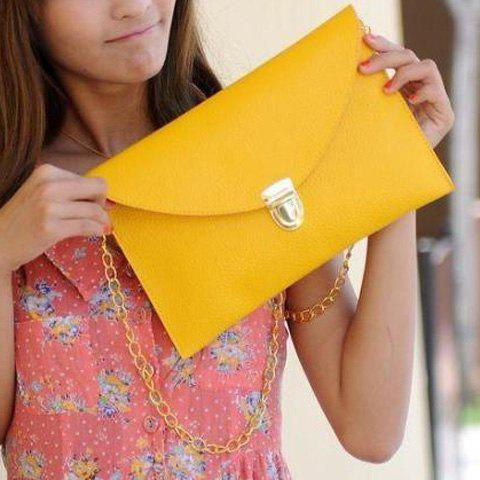 Stylish Envolope and Push-Lock Design Clutch For Women - YELLOW