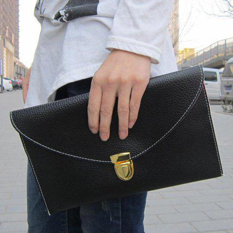 Stylish Envolope and Push-Lock Design Clutch For Women - BLACK