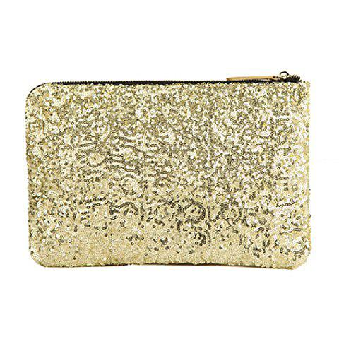 Trendy Sequins and Zip Design Clutch For Women - GOLDEN