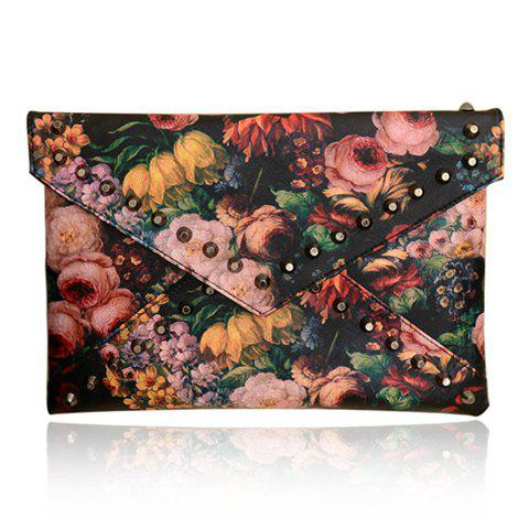 Stylish Rivets and Oil Painting Design Clutch For Women