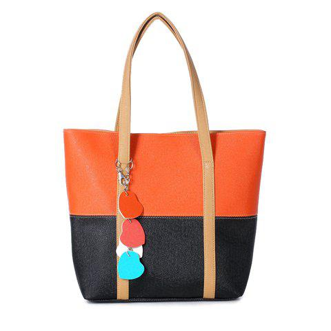 Sweet Color Block and Pendant Design Shoulder Bag For Women