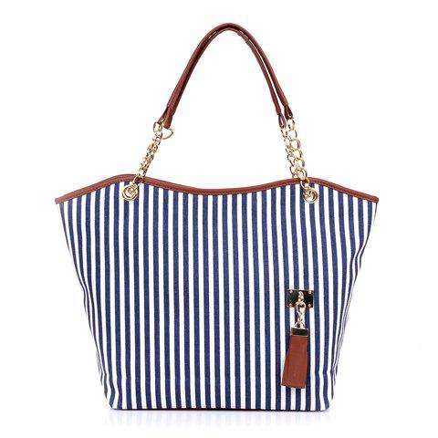 Casual Tassels and Striped Design Shoulder Bag For Women - BLUE