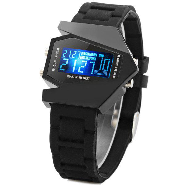 Aircraft Digital LED Watches Sports Watch Day Week Alarm Stopwatch Stainless Steel Case Rubber Strap - BLACK