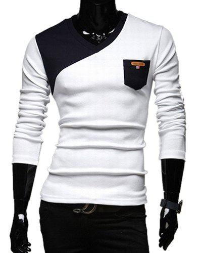 Stylish V-Neck Classic Color Block Splicing Slimming Long Sleeves Men's Cotton Blend T-Shirt YL4150403