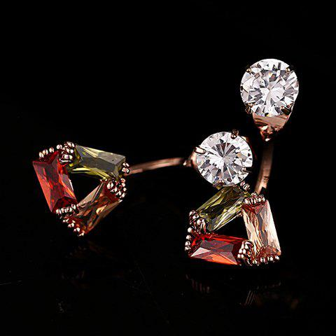 Pair of Fashionable Rhinestone Openwork Triangle Earrings For Women