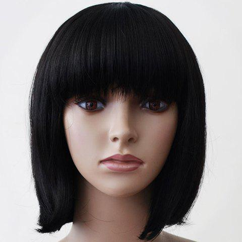 Sweet Short Straight Black Neat Bang Simple Design Women's Synthetic Wig - BLACK