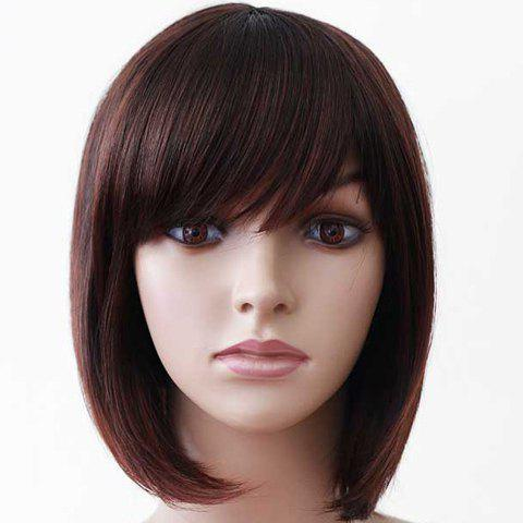 Fashionable Inclined Bang Fluffy Short Straight Chestnut Women's Synthetic Wig - MAROON