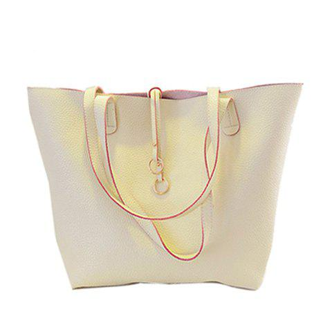 Casual Style PU Leather and Solid Color Design Shoulder Bag For Women - OFF WHITE