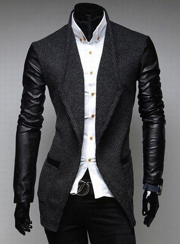 Stylish Slimming Long Sleeves Leather Splicing Pockets Design Men's Woolen Overcoat - DEEP GRAY 2XL