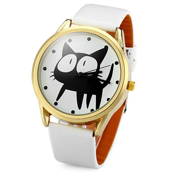 JUBAOLI 2108 Quartz Watch 12 Dots Indicate Cat Pattern Circular Dial and Artificial Leather Watchband - WHITE