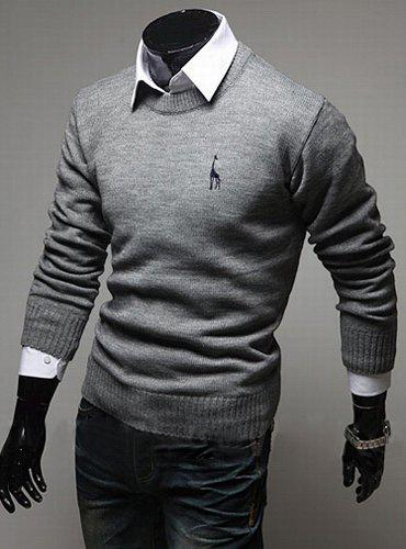 Casual Style Slimming Round Neck Long Sleeves Deerlet Embroidery Design Men's Cotton Blend Sweater