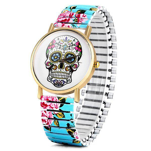 Simply Quartz Watch Halloween Gift with Pointer Display Skull Pattern Round Dial Elastic Watchband for Women - GREEN