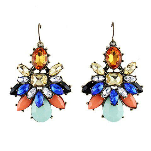 Pair of Exquisite Colorful Faux Gem Decorated Flower Pattern Drop Earrings For Women - AS THE PICTURE