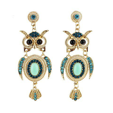 Pair of Exquisite Colorful Faux Gem Decorated Owl Pattern Drop Earrings For Women - GREEN