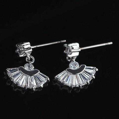Pair of Gorgeous Zircon Decorated Fan-Shaped Pendant Earrings For Women - COLOR ASSORTED