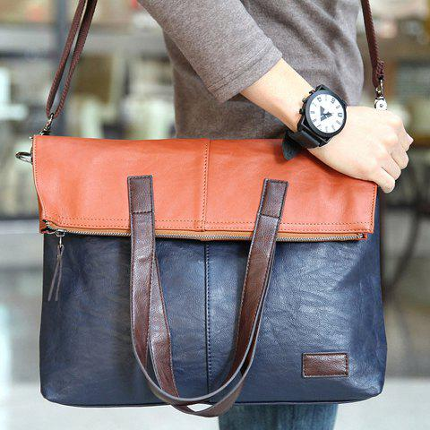 Fashionable PU Leather and Color Block Design Men's Messenger Bag