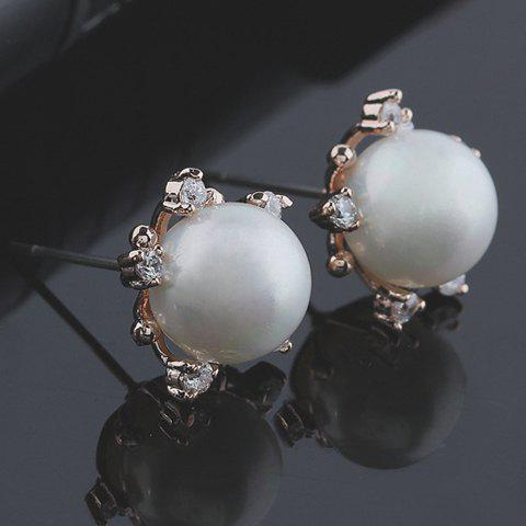 Pair of Gorgeous Rhinestone Decorated Faux Pearl Stud Earrings For Women
