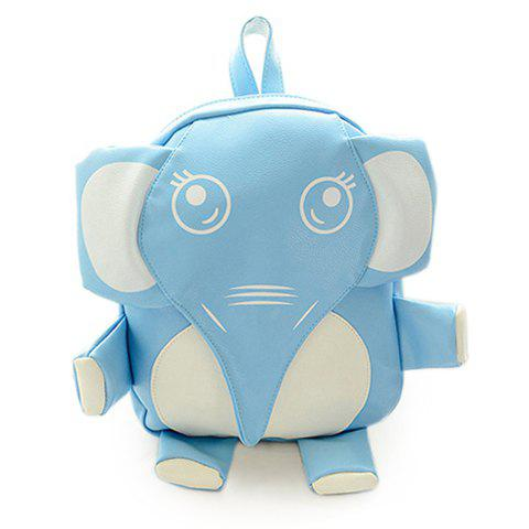 Cute Elephant and PU Leather Design Satchel For Women - AZURE