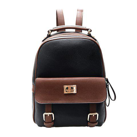 Preppy Color Block and PU Leather Design Satchel For Women