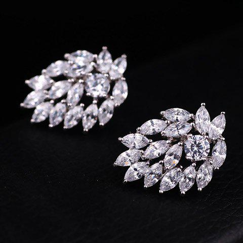 Pair of Gorgeous Rhinestoned Leaf Earrings For Women
