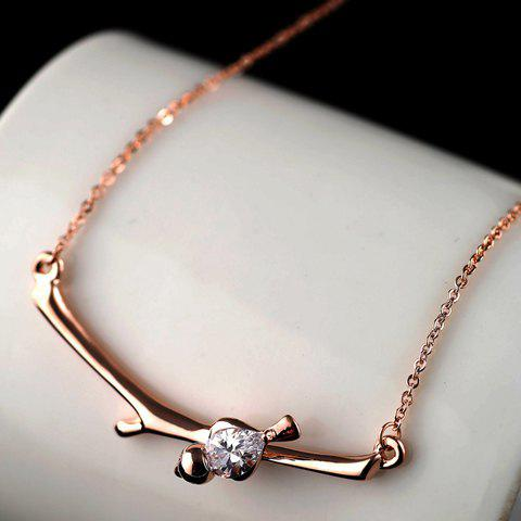 Cute Zircon Decorated Bird Pendant Necklace For Women - ROSE GOLD