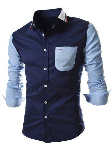 Slimming Trendy Colorful Stripes Turn-down Collar Color Splicing Long Sleeves Men's Polyester Shirt - DEEP BLUE L