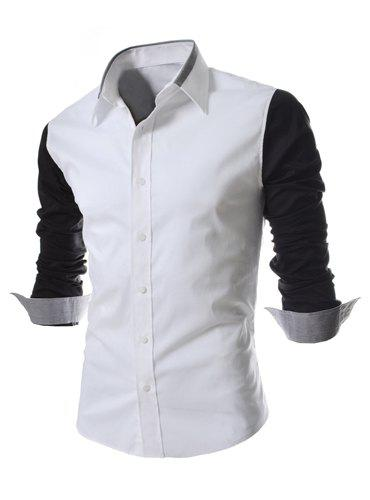 Fashion Style Turn-down Collar Color Splicing Slimming Long Sleeves Men's Polyester Shirt - BLACK M