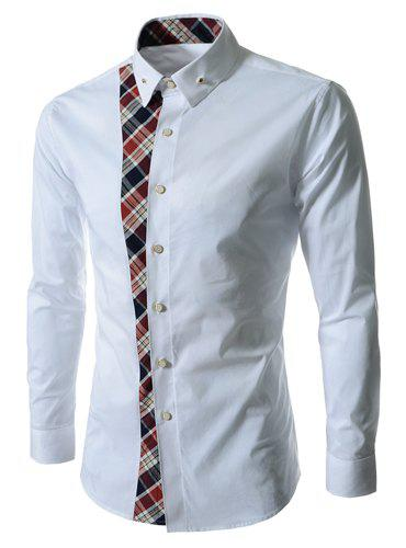 Casual Style Turn-down Collar Colorful Checked Print Personality Embellished Long Sleeves Men's Shirt - WHITE L