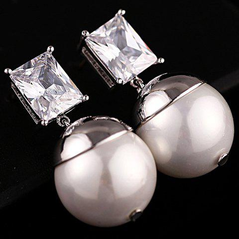 Pair of Cute Rhinestone And Pearl Pendant Earrings For Women