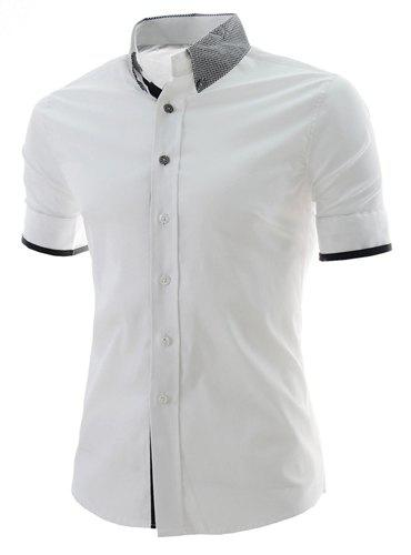 Casual Style Color Block Print Turn-down Collar Slimming Short Sleeves Men's Polyester Shirt - WHITE XL