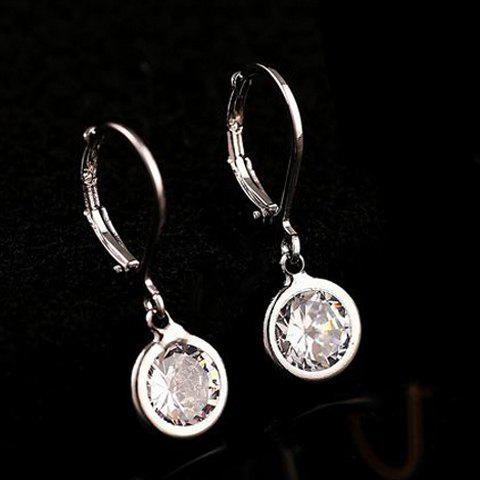 Pair of Rhinestone Inlaid Round Drop Earrings - WHITE GOLDEN