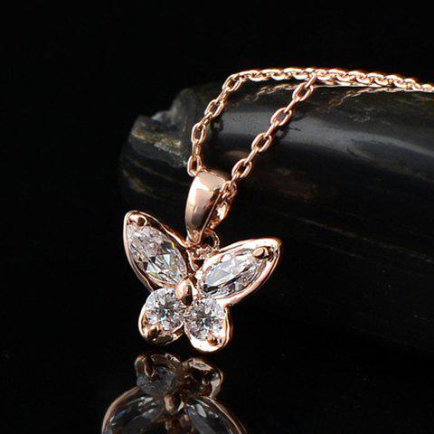 Fashion Zircon Decorated Butterfly Shaped Pendant Necklace For Women - WHITE