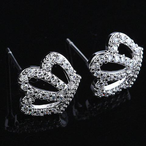 Pair of Fashion Diamante Hollow Crown Shaped Stud Earrings For Women - WHITE GOLDEN