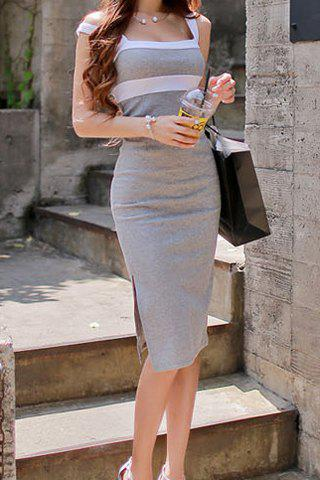 Plunging Neck Sleeveless Backless Bodycon Color Block Women's Dress - LIGHT GRAY ONE SIZE