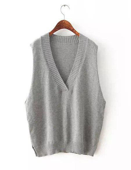 Solid Color Knited Loose-Fitting Simple Style V-Neck Sleeveless Women's T-Shirt - GRAY ONE SIZE