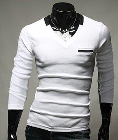 Stylish Slimming Color Splicing V-Neck Long Sleeves Men's Cotton Blend T-Shirt - WHITE L
