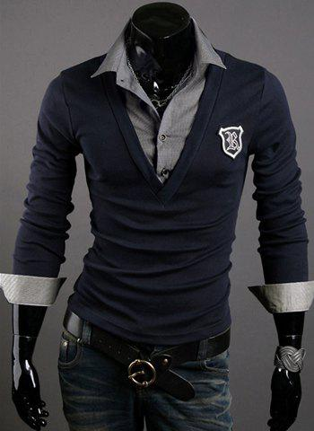 Trendy Turn-down Collar Applique Embellished Slimming Long Sleeves Men's Cotton Blend False Two Pieces Polo T-Shirt - DEEP BLUE XL