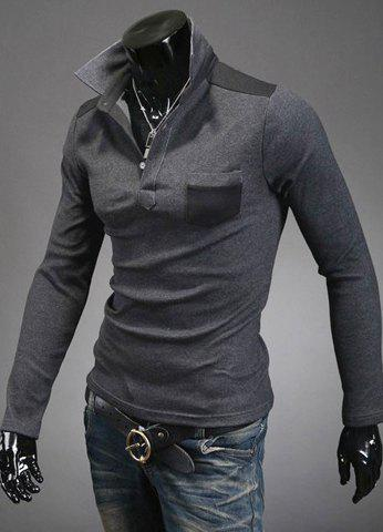 Slimming Trendy Turn-down Collar Color Splicing Pocket Embellished Long Sleeves Men's Cotton Blend Polo T-Shirt - DEEP GRAY XL