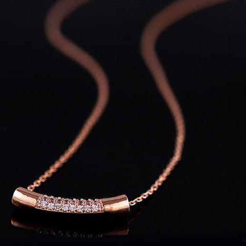 Gold Plated Diamante Cylinder Pendant Necklace - ROSE GOLD