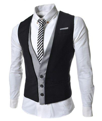 Casual Style V-Neck Belt Embellished Sleeveless Men's Cotton Blend False Two Pieces Waistcoat - BLACK M
