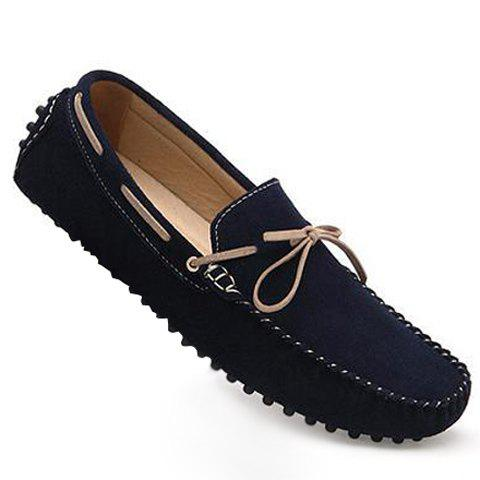 41 Off 2020 Fashionable Suede And Flat Design Loafers For Men In Deep Blue Dresslily
