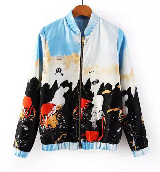 Abstract Print Stand Collar Long Sleeves Trendy Style Women's Jacket - COLORMIX S