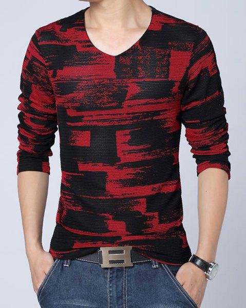 Fashion Style V-Neck Abstract Checked Print Mesh Legging Design Slimming Long Sleeves Men's Plus Size T-Shirt - RED M
