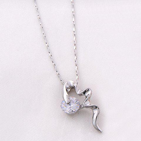 Delicate Faux Crystal Decorated Irregular Shape Pendant Necklace For Women - SILVER