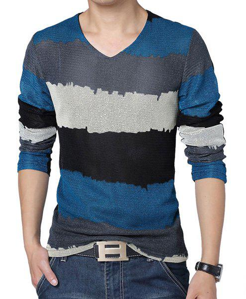 Fashion Style V-Neck Slimming Color Splicing Mesh Legging Design Long Sleeves Men's Plus Size T-Shirt - BLUE L