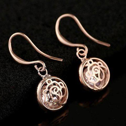 Pair of Openwork Rose Flower Earrings - ROSE GOLD