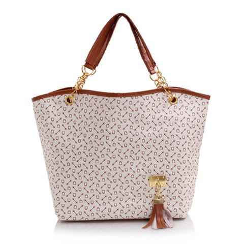 Trendy Tassels and Chain Design Tote Bag For Women - WHITE